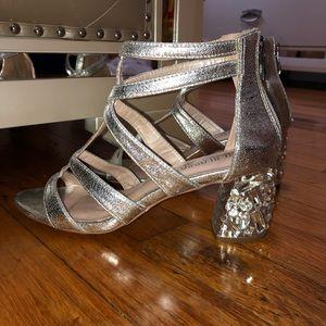 De Blossom Collection : Silver Sandaled Heels